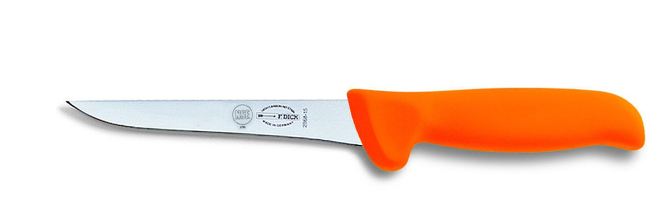 "F. Dick (8286815-53) 6"" Mastergrip Boning Knife, Straight, Stiff, Orange Handle-cityfoodequipment.com"