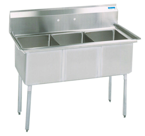 BK Resources BKS-3-18-12 Commercial Stainless Steel 3-Compartment Sink No DB-cityfoodequipment.com