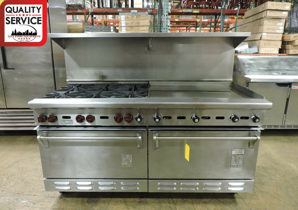 Wolf C68D-1251 Commercial 6-Burner and Griddle Top Range with 2 Standard Ovens-cityfoodequipment.com