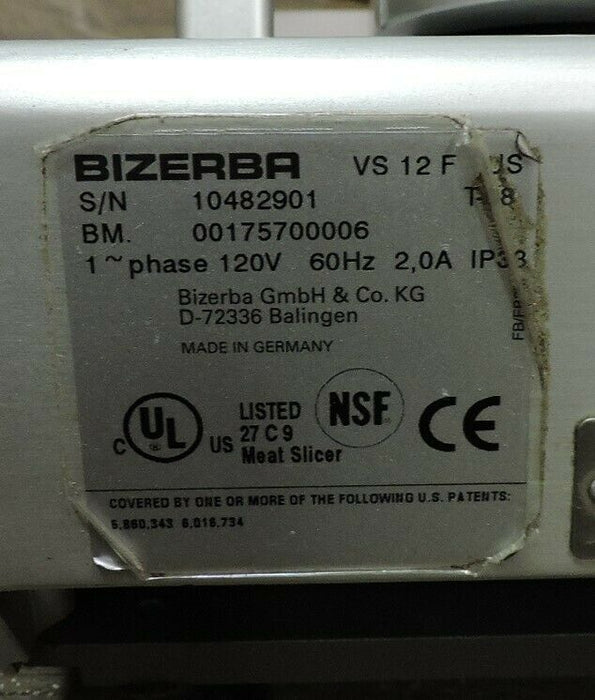 Bizerba VS12F Commercial Manual Deli Meat Slicer-cityfoodequipment.com