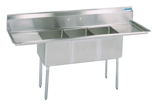 BK Resources BKS-3-18-12-18T Commercial Stainless Steel 3-Compartment Sink 2 DB-cityfoodequipment.com
