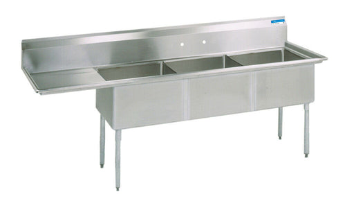 BK Resources BKS-3-18-12-18L Commercial Stainless Steel 3-Compartment Sink LDB-cityfoodequipment.com