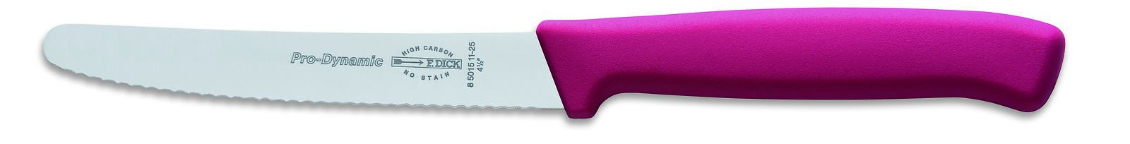 "F. Dick (8501511-25) 4"" Utility Knife, Serrated Edge, Pink Handle, Pro Dynamic-cityfoodequipment.com"