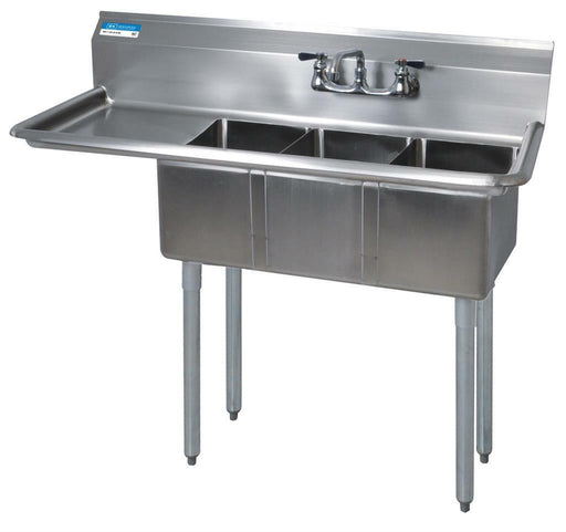 BK Resources BKS-3-1014-10-15L Commercial Stainless Steel 3-Compartment Sink LDB-cityfoodequipment.com
