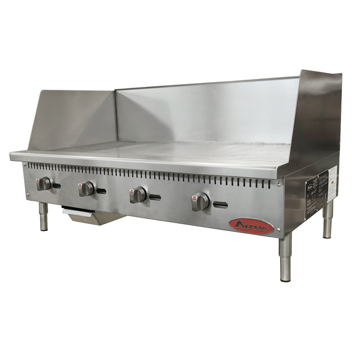 Alpha AMG-48HS Gas Countertop Manual Griddle 48″ Wide with High Splash Guards-cityfoodequipment.com