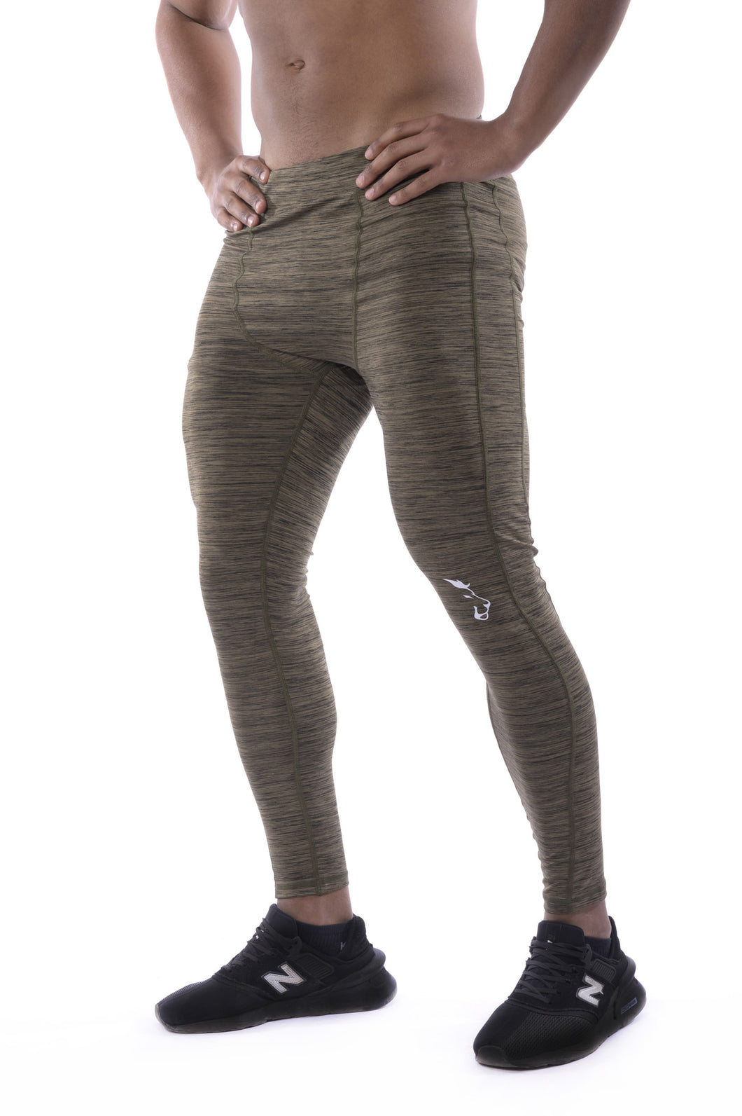 Knee Tag - Men Leggings Dark Green