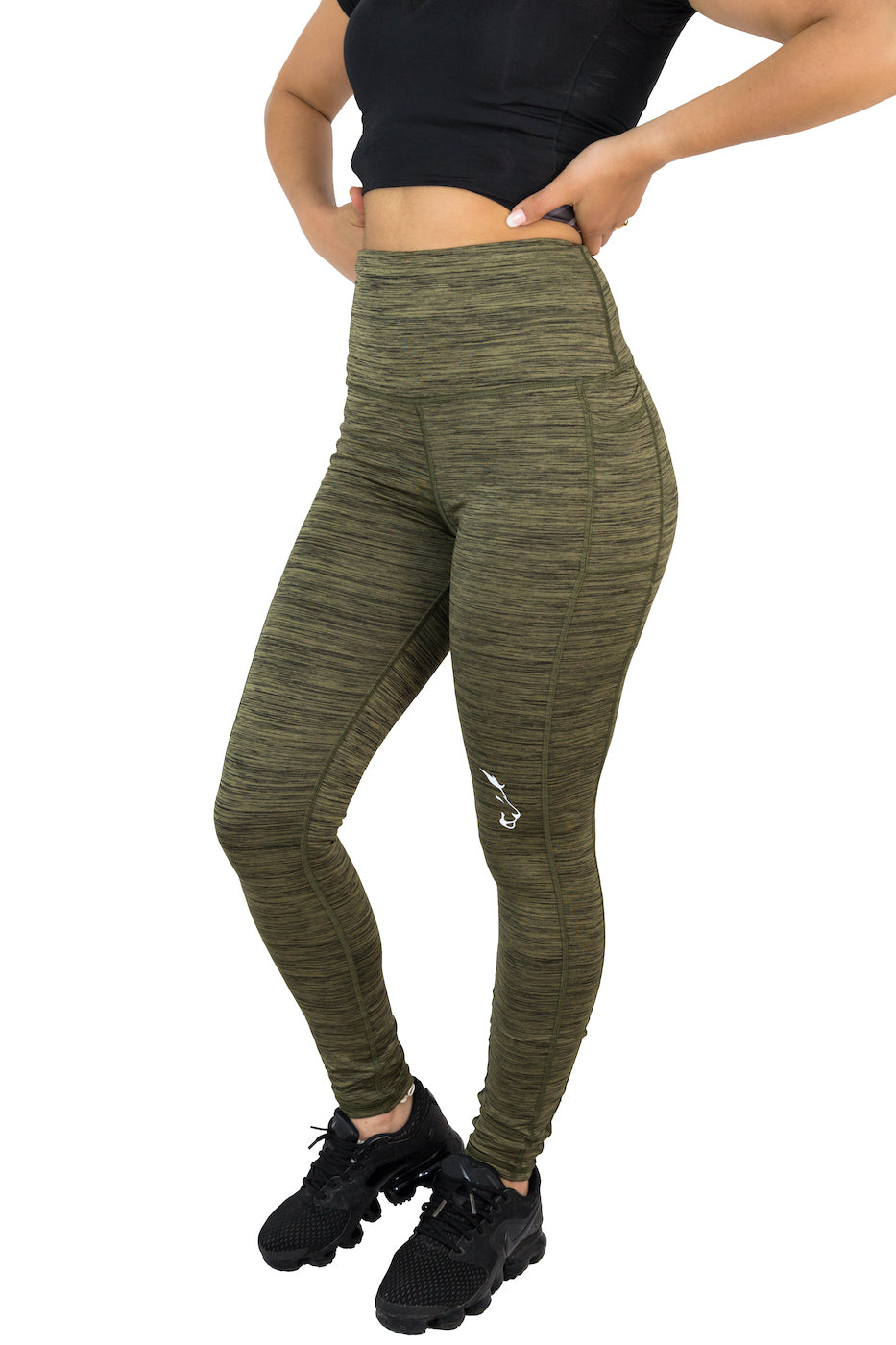 Knee Tag - Women Dark Green Leggings
