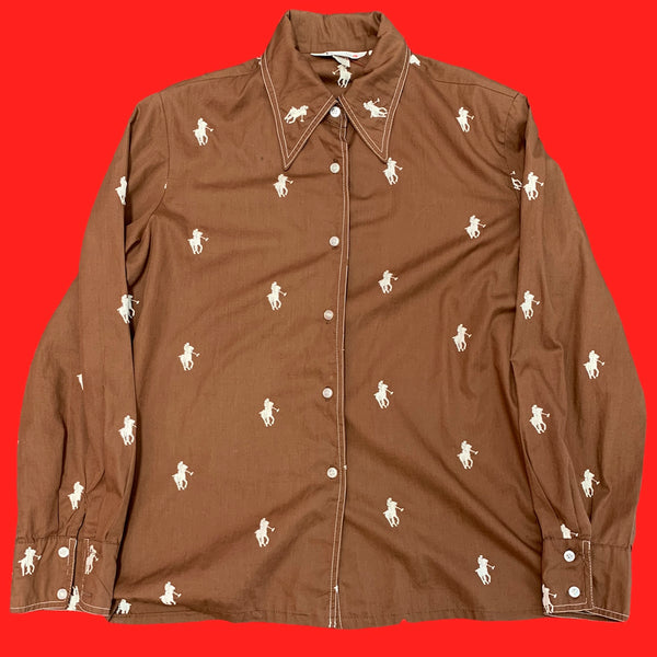 Horses Embroidered All Over Button Up Shirt S