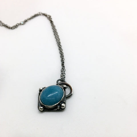 simple silver and blue necklace