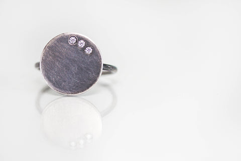 Oxidized Silver Disc Ring