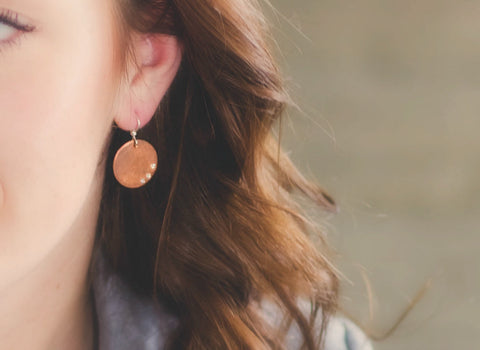 Copper Disc Earrings with Cubic Zirconia