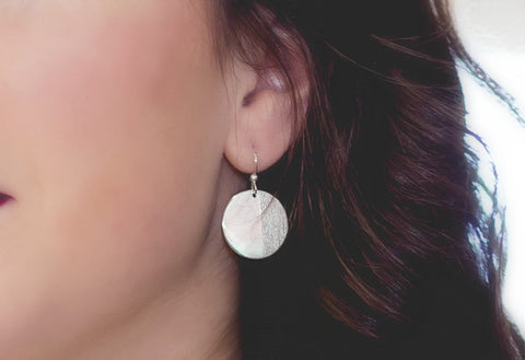 Medium Silver Disc Earrings