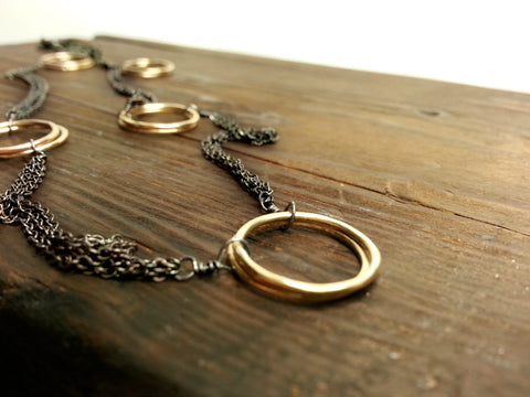 Oxidized Silver and Gold Necklace, Matinee Necklace, Sterling Silver and 14K Gold Fill