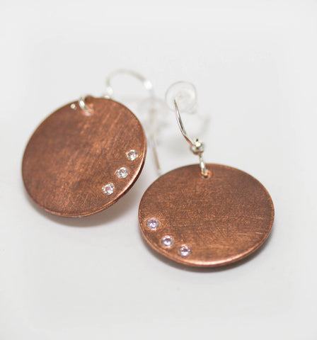 Medium Copper Disc Earrings