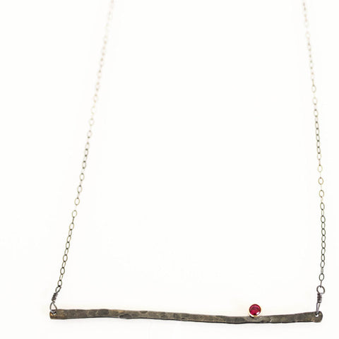 High Wire Necklace in Oxidized Sterling Silver with 14K Gold Accents