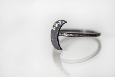 Oxidized Silver Moon Ring