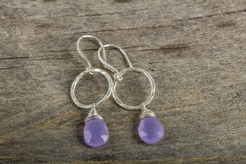 Lavender Chalcedony Drop Earrings