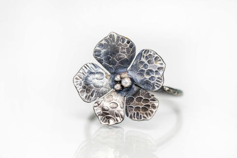 Flower Ring in Oxidized Sterling Silver