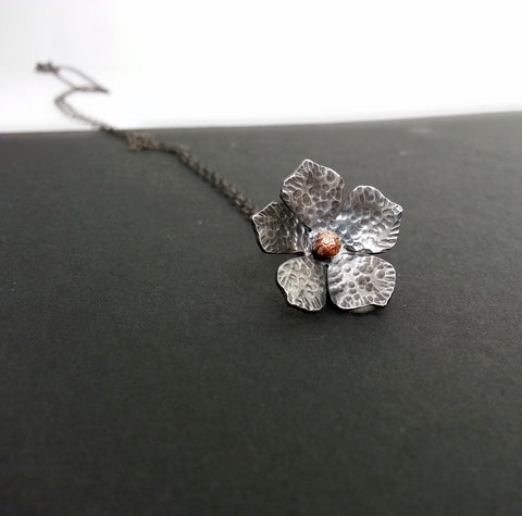 Silver and Copper Flower Necklace