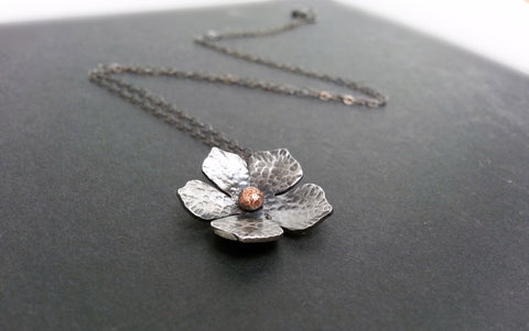 Handcut Silver Flower Necklace