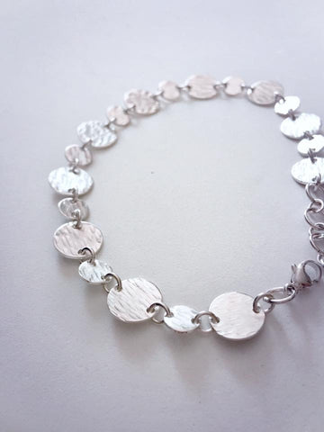 Delicate Silver Bracelet with Tiny Textured Discs