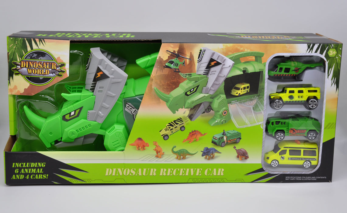 Small Dinosaur and Vehicle Set with Triceratops Storage Carrier