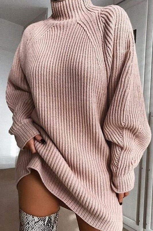 Pretty In Pink Turtle Neck Sweater Dress