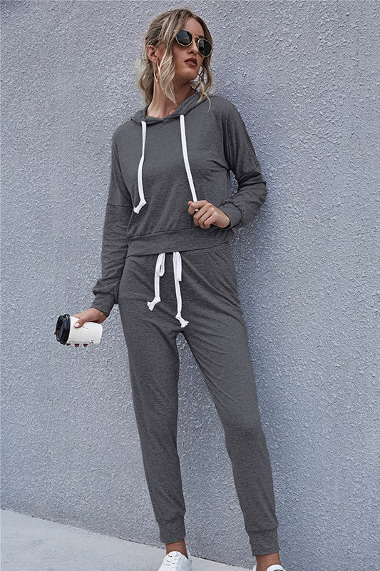 Love Cozy Grey Two-Piece Long Sleeve Jogger Set