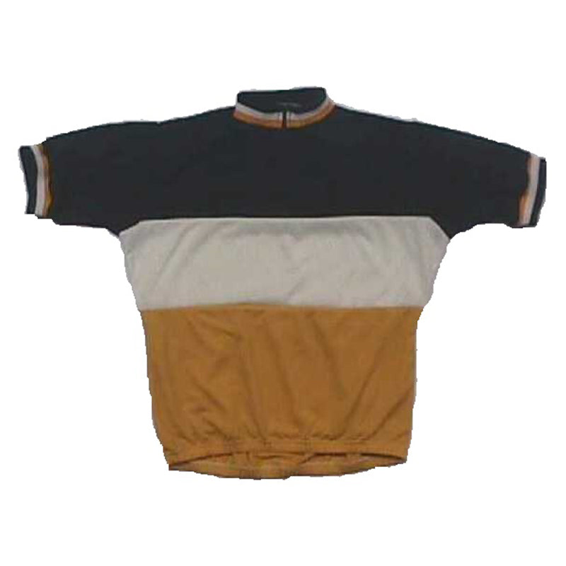 Merino Wool Cycling Jersey - Short Sleeve - Retro Gold White Black