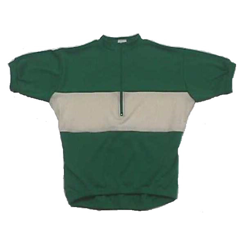 Wool Bicycle Jersey | Short Sleeve | Green, White, Green