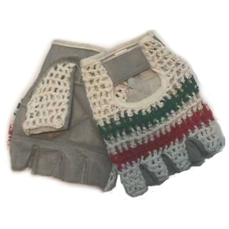 Leather Red/White/Green Knit Back Cycling Gloves