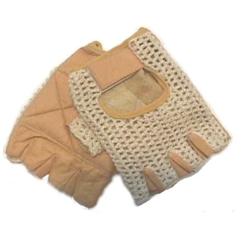 Cycling Glove | Leather Tan Knit Back Cycling Glove