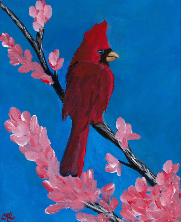 Cardinal in Spring - Original piece