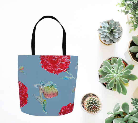 Denim Flowers Tote