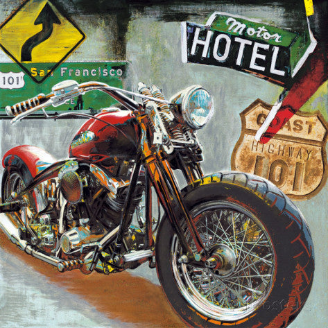 Motorcycle Art Print Highway 101