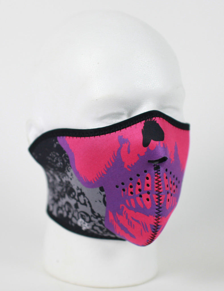 Neoprene 1/2 Face Mask - Pink Skull