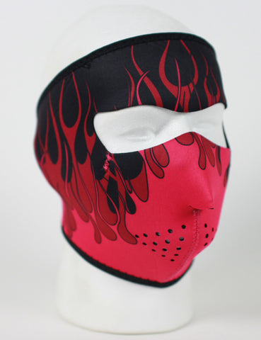 Neoprene Face Mask- red and pink flames