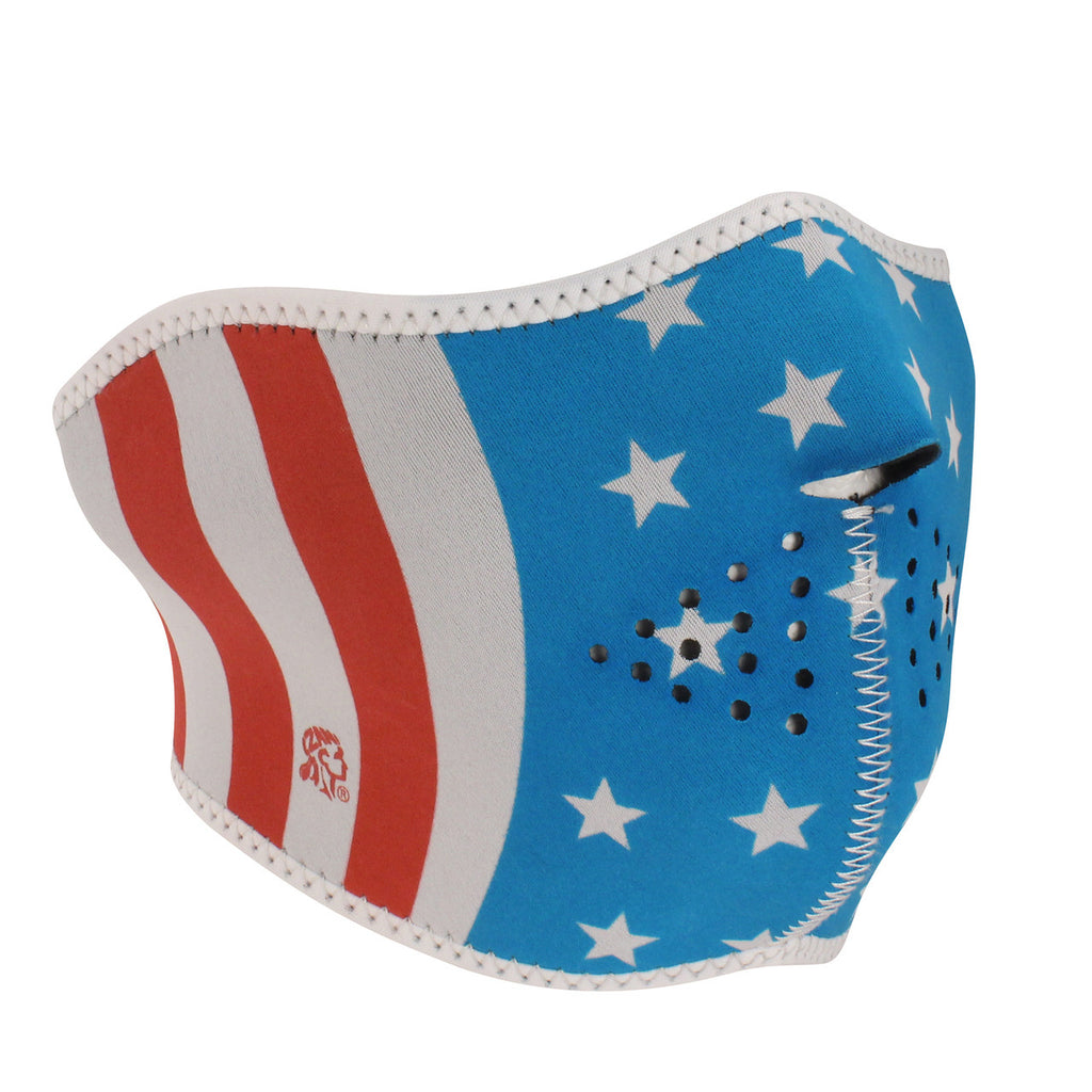 Neoprene 1/2 Face Mask GLOW IN THE DARK- Stars and Stripes