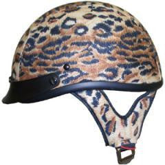 DOT Ladies Leopard Shorty Motorcycle Helmet