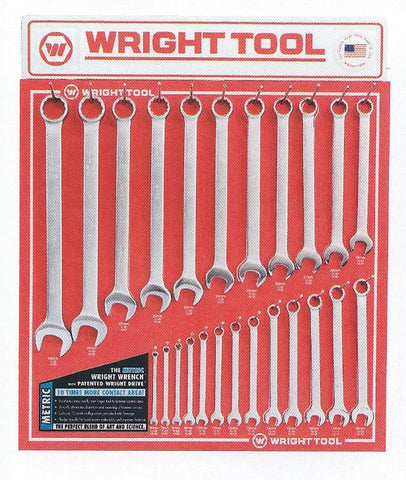 Wright Display Board Metric Combination Wrenches Satin or Polish