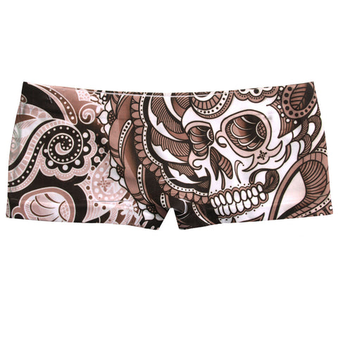Ladies Boy Shorts Henna Skull Sublimation