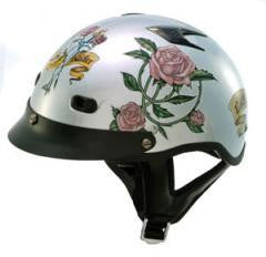 DOT Ladies Vented Shorty Motorcycle Helmet Lady Rider - Silver/Roses