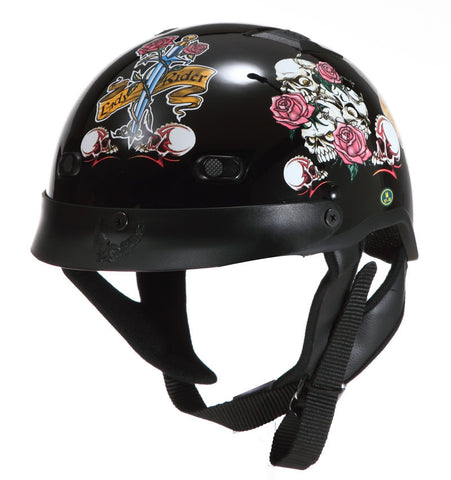 DOT Ladies Vented Shorty Motorcycle Scooter Helmet Lady Rider - Black/Roses/Skulls
