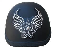 Rhinestone Helmet Patch  Winged Heart or Star