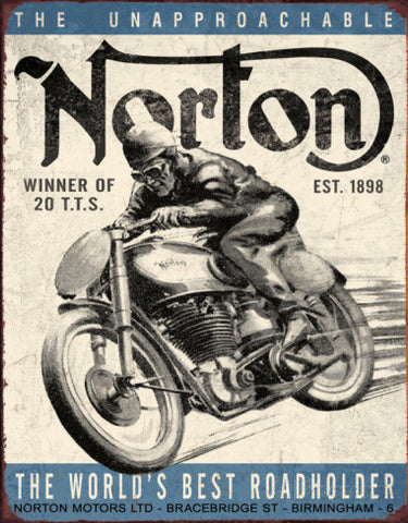 "Tin Sign ""Norton- winner"""