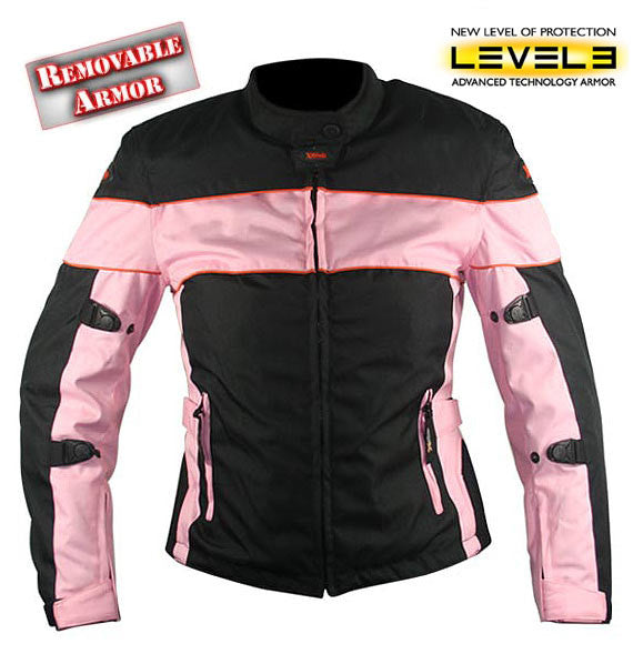 Ladies Black and Pink Tri-Tex Fabric Motorcycle Jacket with Level-3 Advanced Armored