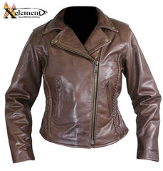 Ladies Braided Classic Brown Leather Jacket