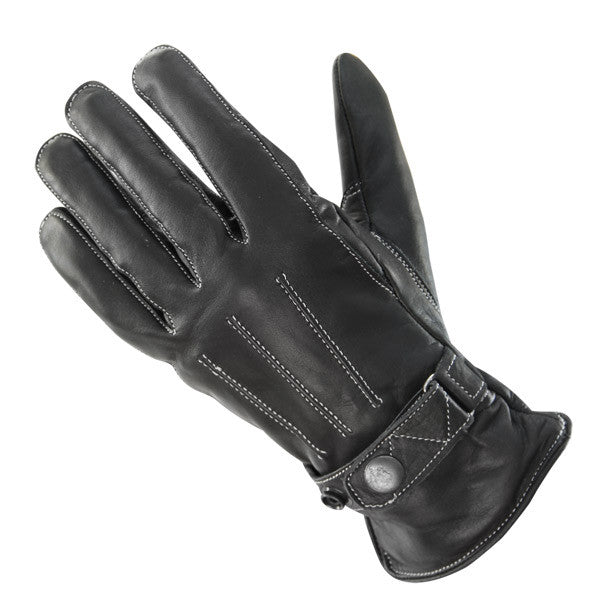 Classic Women'sButton Snap Black Leather Motorcycle Gloves