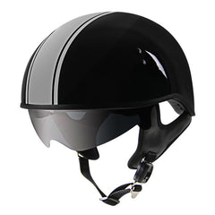DOT Grey Strip Outlaw with Visor Motorcycle Half Helmet