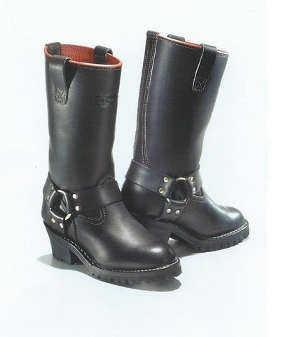 Custom Women's Black Leather Motorcycle Harness Boot